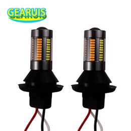 Chinese  2pcs Dual-Color BAU15S 4014 66 SMD LED PY21W 7507 T20 7440 50W Resistor Switchback LED No Error DRL Turn Signal Lamp Light Kit manufacturers