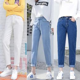 Whites Trousers For Women NZ - 2018 Winter Ripped Woman High Waist Boyfriend For Women Plus Size Blue Black White Denim Mom Jeans Pants Trousers S1011