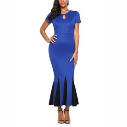 Ladies Night Evening Dresses UK - MAYFULL S-2XL sexy patchwork dress lady holiday night dinner evening party midi dress brand women casual leisure bodycon dress
