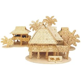Build Toy House UK - The dai bamboo house model Kids toys 3D Puzzle wooden toys Wooden Puzzle Educational toys for Children Christmas Gift