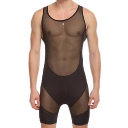 0461aa4738 sexy Men s Fitness Conjoined Vest mesh Transparent Body Shaper Men  Underwear Mens Bodysuits