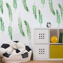 sticker sheets for kids Canada - 6 Sheets DIY Green Leaves Wall Stickers Decals Kids Children Room Home Decoration Vinyl Wall Art Stickers 7051763