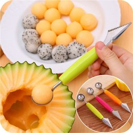 Cutter Fruit Watermelon Australia - New Ice Cream Dig Ball Scoop Spoon Baller DIY Assorted Cold Dishes Tool Watermelon Melon Fruit Carving Knife Cutter Gadgets