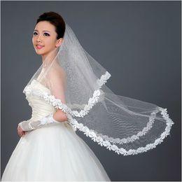 Hot Veils Australia - 130cm Long ! Wholesale New Applique Free Shipping ! Hot Sale ! Bridal Veil Wedding Veils BRIDAL ACCESORIES Flower VEIL
