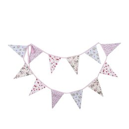 happy birthday garland UK - Happy Birthday Banner Kids Children Boy Girl Party Decorations Pennant Garland Banner Cotton Fabric Party Flags