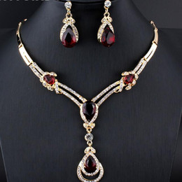 0fcb5ff7b Red costume jewelRy necklaces online shopping - deisgner jewelry sets women  Wedding Bridal Accessories Party gold