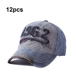 d52184f5deb 12pcs Washed Baseball Cap 100% Cotton Snapback Cap 1962 Embroidery Hat Men  Women Vintage Dad Cap Outdoor Sports Caps Wholesale