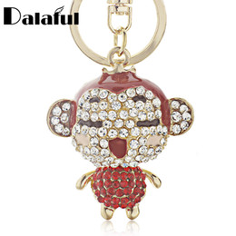 monkey handbags UK - New Fashion Charm Red Enamel Lovely Monkey Crystal key chains holder HandBag Pendant Keyrings Keychains Jewelry K122
