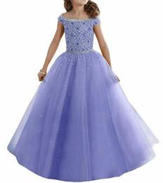 Lavanda Water Melon Lovely Girls Desfile vestidos de Hombros Cristales con cuentas Corset Volver Vestidos de niña de flores Organza Kids Formal Wear