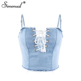 afafe1898386a Simenual 2018 Summer crop top female shirt strap fashion slim lace up  fringe hem sexy denim women camis jeans tanks tops copped S915
