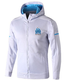 Venta al por mayor de De calidad superior Survetement Maillot de Foot om capuche Olympique de Marseille chaqueta con capucha jersey de manga larga con capucha con capucha 2018 hombres camiseta