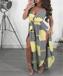 Plus Size V Neck Jumpsuit Australia - Womens Striped Wide Leg Jumpsuit Ladies Evening Party Playsuit Plus Size Women Sets Polyester Sleeveless Romper V-neck Jumpsuits