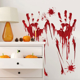 Discount plastic window stickers for christmas - Halloween Car Stickers Bloody Fingerprint Blooding Handprint Decals Waterproof Wall Sticker Poster Christmas Stickers Fo
