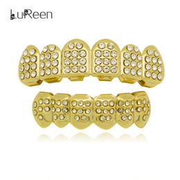 Silver Grillz NZ - LuReen 14k Gold Silver Plated Teeth Grillz Iced Out CZ Paved 6 Top and Bottom Teeth Set Hip hop Teeth Jewelry