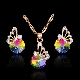 Wholesale Pendant Sets NZ - H:HYDE New Fashion colorful Austrian Crystal Butterfly Stud Earrings Pendants Necklace for Women Wedding Party Jewelry Sets