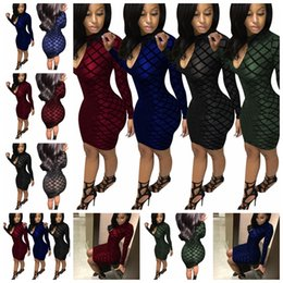 $enCountryForm.capitalKeyWord NZ - 2019 European American fashion hot style pure color header waist long-sleeved v-neck sexy tight flocking club dress,Support mixed batch