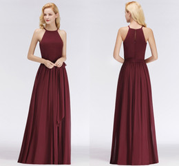Discount garden party style wedding dresses - High Quality Burgundy Bridesmaid Dresses Country Style Sleeveless Chiffon Real Pictures Wedding Party Gowns Cheapest BM0