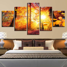 Canvas Prints Frame Australia - Canvas HD Prints Poster Living Room Decor Frame 5 Pieces Summer Sunshine Forest Paintings Modular Tree Scenery Pictures Wall Art