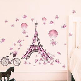 Paris Stickers For Walls NZ - Romantic Paris Wall Sticker For Kids Rooms Eiffel Tower Flower Butterfly Fairy Wall Art Decal Home Decor Mural wallpaper sticker