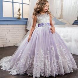 Venta al por mayor de Princesa Lila pequeña novia vestido largo del desfile para niñas Glitz Puffy tul vestido de fiesta vestido de graduación de los niños Vestido4121