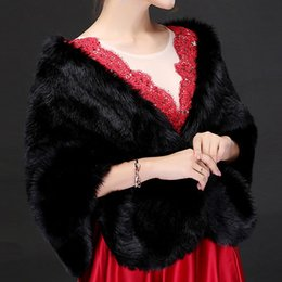 Dresses boleros online shopping - 2018 New Faux Fur Bridal Wraps Shawl Cheap Black Beige Red Warm Bridal Bolero for Wedding Dresses Free Size CPA1495