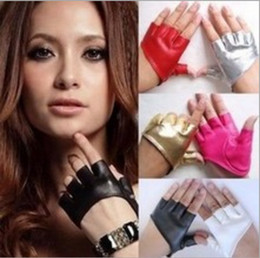 Leather Gloves For Men Australia - GTGLAD New Design Sexy Leather Gloves for Women half palm half finger PU Leather Gloves Party Show Mittens Black Gold Silver