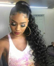 body wave ponytails 2019 - 160g hot Gri Peruk Wavy Ponytail Human Hair Extension, Natural color Brazilian Virgin Hair body wave drawstring Human Ha