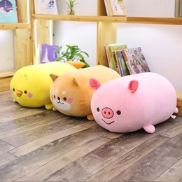 Discount cute chicken toys - 35cm 65cm 90cm New Kneeling cute chicken dog pig reduce pressure squishy plush toy 3D Pillow for Birthday gift 1pcs