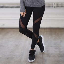 Block Insert Australia - Women Casual Leggings Fitness Winter Jeggings New Arrival Ladies Elastic Waist Color Pants Block Mesh Insert Leggings