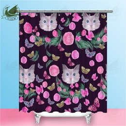 pink curtain fabric NZ - Vixm Bright Cat Head Pink Rose Brown Leaf Butterfly Shower Curtains Polyester Fabric Curtains For Home Decor