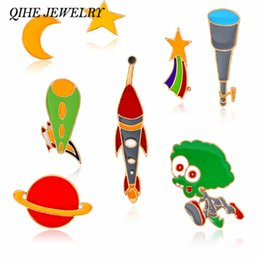 Astronomy Telescopes Canada - QIHE JEWELRY Cosmic Pins & Brooches Star Moon Rocket Alien Telescope Design Galaxy Space Jewelry Astronomy Lover Gift