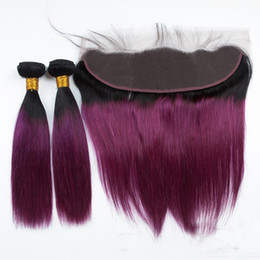 Discount two toned purple hair weave - 1b Purple Ombre Indian Human Hair Bundles With Lace Frontal 10A Two Tone Straight Virgin Hair Weaves And Ear To Ear Lace