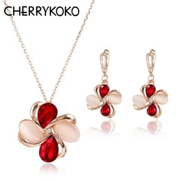Copper Earrings Australia - 9 Colors Copper Pendant Earrings Necklace Set Women Wholesale Shinning CZ Crystal African Jewelry Sets