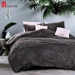 velvet bedding sets 2019 - New Velvet Mink Velvet Bedding Set Gray Duvet Cover Comfortable Bed Sheet 4 Pcs Pillowcases Textile Bed Queen Size Free