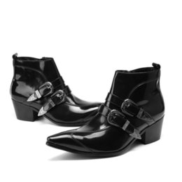 Men horse boots online shopping - Men s pointed toe genuine leather ankle boots men high leels fashion buckle real horse hair design height inceased dress boots