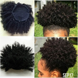 16 inch malaysian hair curly Australia - Natural puff Afro Kinky Curly Human Hair Ponytail For Black Women Indian Virgin Hair Drawstring Ponytail Hair Extensions 10-16 inch 120g