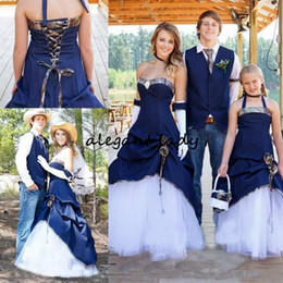 Denim applique Dress online shopping - Latest Country Cowboy Camo Wedding Dresses Navy Blue Denim A Line Pleats Sweetheart Lace Up Back ruffles cowgirl Bridal Gown