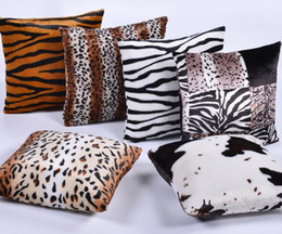 Zebra pillow cases online shopping - New Plush Animal Zebra Leopard Tiger Texture Printed Throw Pillow Case Sofa Bed Home Decor Cushion Cover Throw Pillow Cove