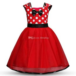 european ball gowns 2019 - Baby Dot dress girls TUTU Bow Princess dresses 2018 new fashion Kids Clothing Boutique girls lace Ball Gown 5 colors C36