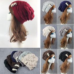 d5fd8120fa6 CroChet women Cap online shopping - 7 colors Women Winter Knitted Baggy  Beanie Cap Lace Button
