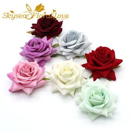 Wholesale Artificial velvet roses cm silk flower heads diy hat shoe decorative flowers wrist boutonniere wedding flowers