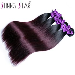 Discount burgundy ombre hair bundles - Ombre Brazilian Straight Hair 1B 99J Burgundy 100% Human Hair Bundles 1Piece Shining Star Non Remy Weave Can Buy 3 Or 4