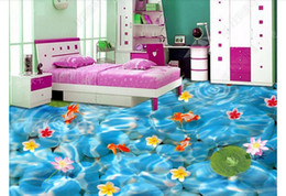 pond wall stickers Australia - Waterproof Self-adhesive 3D PVC Flooring Wall Sticker 3D wallpaper customized floor painting wall paper Carp fish pond 3D floor painting
