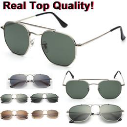 Red lense glasses online shopping - 3648 New Hexagonal Sunglasses G15 glass lense general sun glasses shades UV400 men women sunglasses glasses with all original packages