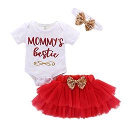 cc90a2c963fc9 Mikrdoo Toddler Baby Girl Día de la Madre Lindo 3PCS Outfit manga corta  Tutu Falda Bow Diadema Recién nacido Infantil Sweet Clothes Set