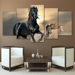 Horse pictures for living room wall online shopping - Modern HD Printed Wall Art Pictures Panel Black And Brown Horse Home Decor Framework Canvas Painting Poster For Living Room