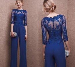 Blue Plus Size Jumpsuit Australia - Royal Blue 2017 Plus Size Mother Of Bride Pant Suit 3 4 Lace Sleeve Mother Jumpsuit Chiffon Cocktail Party Evening Dresses Custom Made