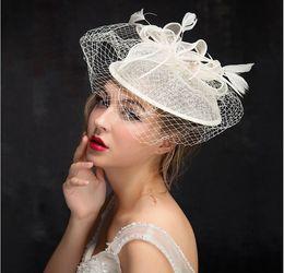 f5d40105dddc6 2018 Face Veil Hats for Women Bridal Feathers Fascinators Wedding Hats  Newly Linen Tulle Women Party Hair Accessories Hats European