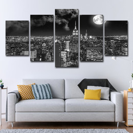 city canvas prints Australia - 5 PCS Canvas Prints Poster Wall Art Pictures 5 Pieces Surreal City Night Brightly Moon Landscape Paintings Living Room Decor Framework