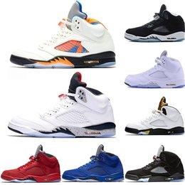 run sales 2019 - Mens 5 5s Basketball Shoes International Flight Blue Suede OG Metallic Black Oreo White Cement Fire Red Sport Sneaker Si